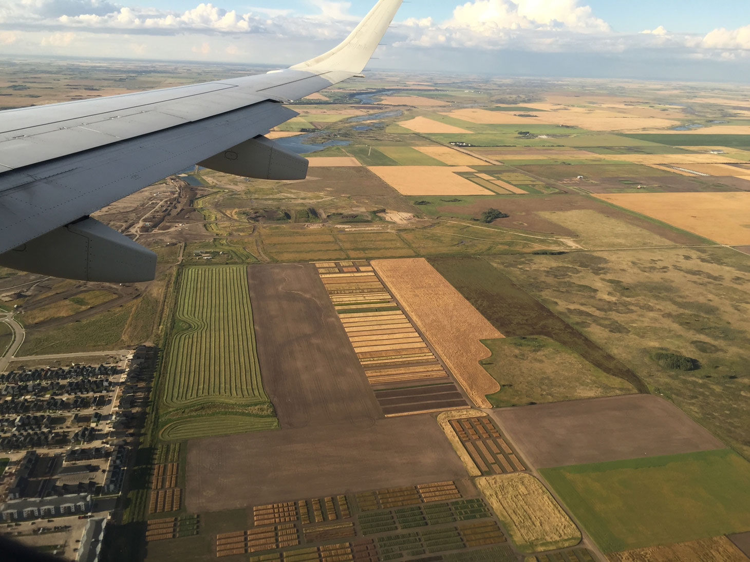View of the prairies from an airplane